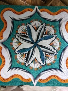 """Fire Island Hosta Queen""  Pieced and Quilted by Arlene Marchuk-Wilkens"