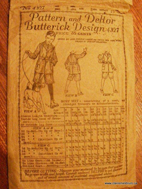 vintage boy's knickers and jacket pattern